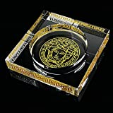 HUACANG Transparent Crystal Versace Daddy Gift Ashtray, Large Home Decor Office Cigar Ashtray, Outdoor Garden Hand Painted Ashtray (Gold+Transparent) (Size : S)