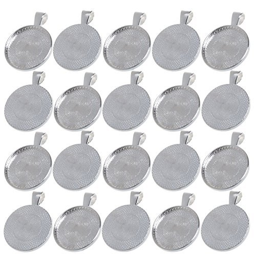 Diy Necklace Pendant - BCP 20pcs 1inch Circle Pendant Blank Tray Cabochon Settings (Silver Color)
