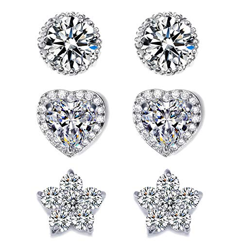 EEPIRR Cubic Zirconia Stud Earrings For Women, 3 Pairs CZ Round & Heart & Flower Post Earrings, White Gold Plated Ear Studs Jewelry
