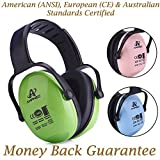 Amplim Hearing Protection Earmuff for Toddlers, Teens and Adults. Noise Cancelling Headphones for Kids. Autism Spectrum Ear Defenders - Airplane, Concert, Outdoor, School - Green