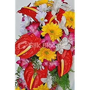 Bright Artificial Fresh Touch Red Anthurium Cascade Bridal Bouquet with Orchids and Daisies 2