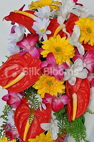 Bright-Artificial-Fresh-Touch-Red-Anthurium-Cascade-Bridal-Bouquet-with-Orchids-and-Daisies