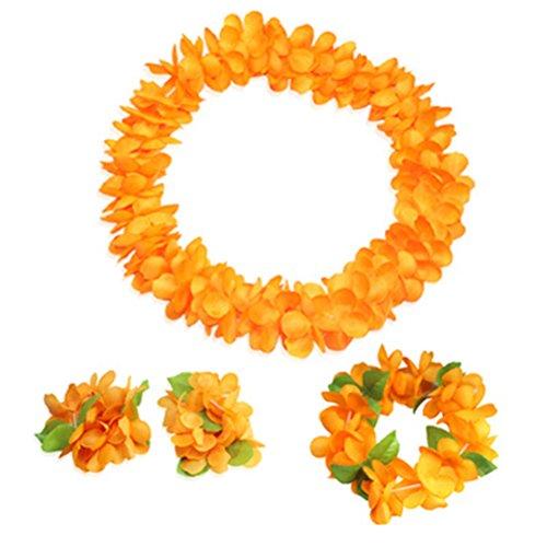 (Hawaiian Luau orange flower Leis Jumbo necklaces bracelets headband)