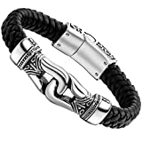 Urban Jewelry Men's Bracelet - Ancient Pattern Design in a Polished Silver Finish and Black Leather Rope Chain - Made of Stainless Steel and Genuine Leather for Him