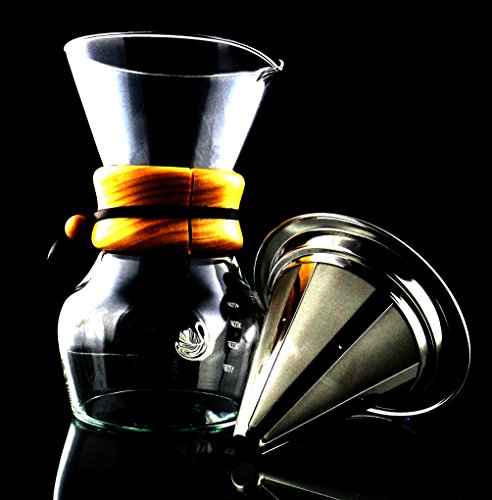 Coffee Maker Non Electric : Coffee Maker (Non-Electric) with Pour Over Coffee Dripper & Stainless Steel Reusable Mesh Filter ...