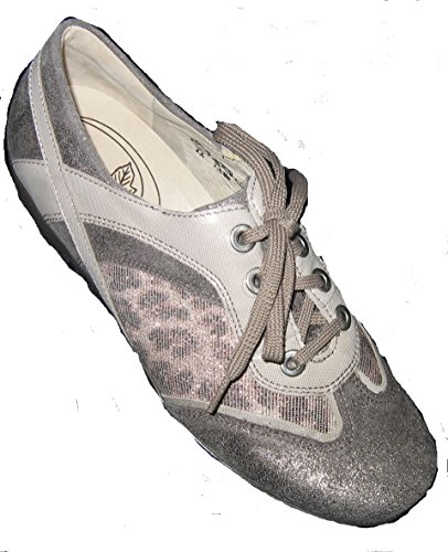 Sneaker Da Donna Ranger In Pelle Grigio / Rosa / Beige