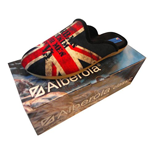 ALBEROLA AC1273 HAUSSCHUH / PANTOFFEL HELLE SOHLE HERREN FLAGGE ENGLAND BLACK - EU 36 - 48
