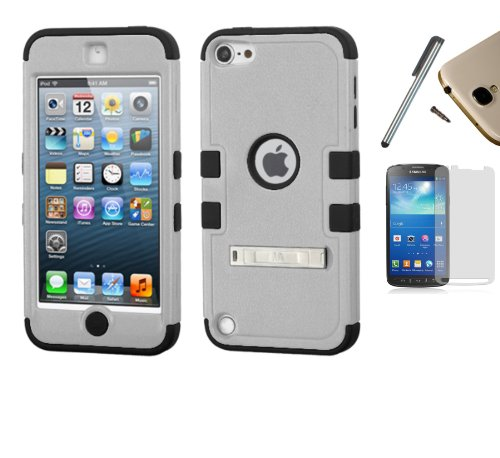 Apple iPod Touch 5 / 6 (5th Gen) Dual Layer Tuff Armor Impact Hybrid Soft Silicone Cover Hard Plastic Case + [WORLD ACC] TM Brand LCD Screen Protector + Silver Stylus Pen + Black Dust Cap Free Gift (Natural Tuff Grey / Black) - Ipod Touch 5th Gen Acc