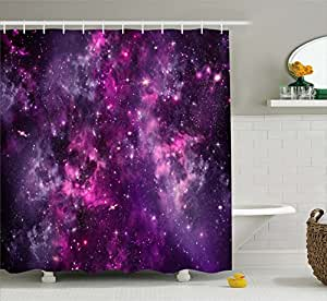 Ambesonne purple decor collection nebula gas for Deep purple bathroom ideas