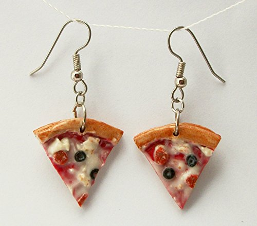 Pepperoni Pizza with Black Olives and Cheese Earrings Faux Food Jewelry ()