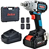 ENEACRO 20V Cordless Impact Wrench Brushless Motor 300 Ft-lb Max Torque,4.0 AH Battery with Fast Charger,3 Speed Switch,1/2 Inch Detent Anvil,Belt Clip,Carrying Case & 4 Sockets