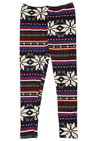 Girl's Fair Isle & Lines Pattern Print Leggings - Blue Red S/M