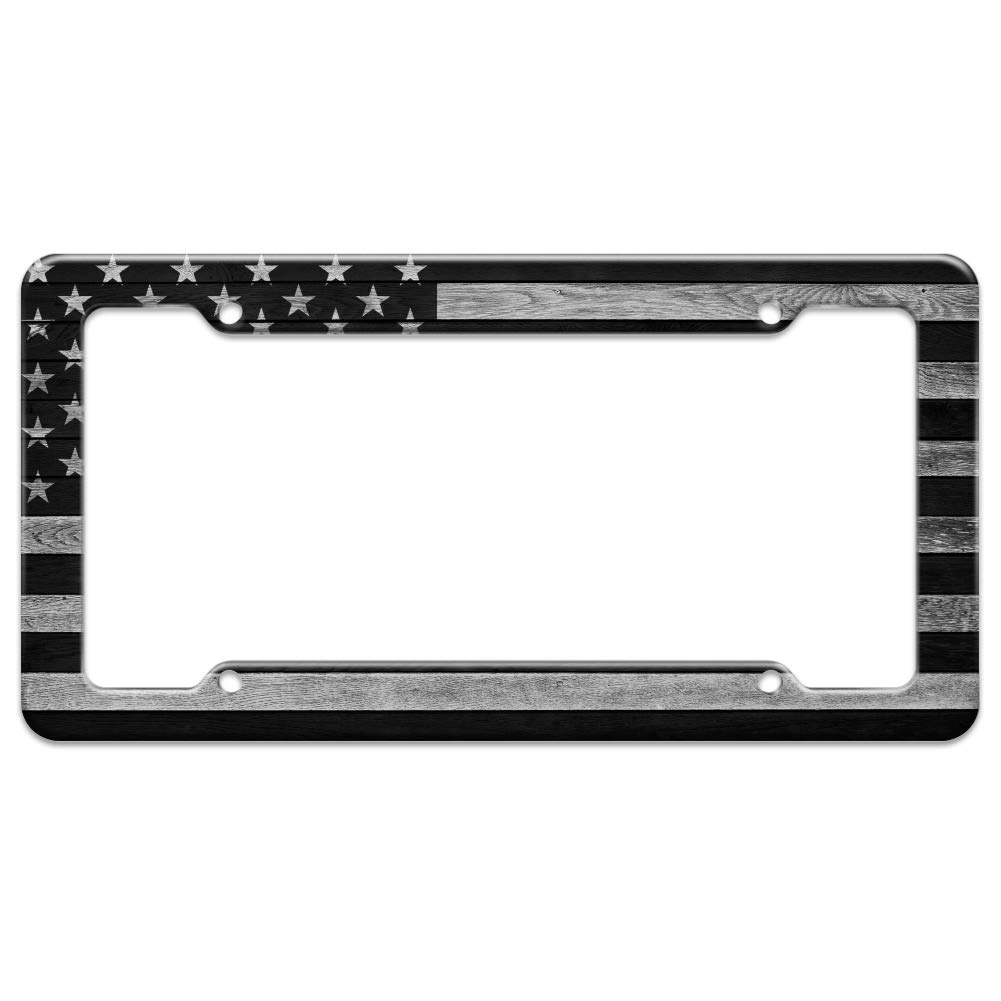 Rustic Subdued American Flag Wood Grain Design License Plate Tag Frame