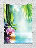 Ambesonne Spa Decor Tapestry Wall Hanging, Symbolic Spa Features with Candle and Bamboos Tranquil and Thoughtful Life Culture Nature Print, Bedroom Living Room Dorm Decor, 60 W x 80 L inches, Multi