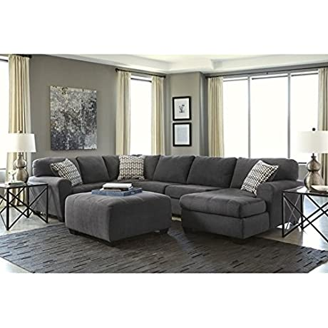 Ashley Sorenton 4 Piece Left Chaise Sectional With Ottoman In Slate