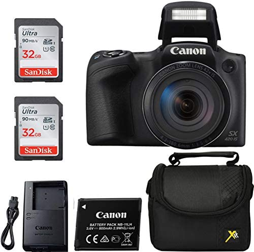 Canon Powershot SX420 Point & Shoot Digital Camera Black + 2 Sandisk Ulrta 32GB Class 10 Memory playing cards + Premium Camera Case