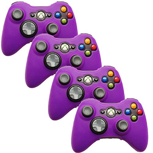 HDE Xbox 360 Silicone Wireless Controller Skin Protective Rubber Case Cover for Microsoft Xbox 360 Game Pad (4 Pack) (Purple)
