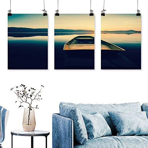 (SCOCICI1588 3-Piece Modern Serene Lake Mountain Fisher Boat Retro Filter Art Home Decor No Frame 16 INCH X 24 INCH X 3PCS)