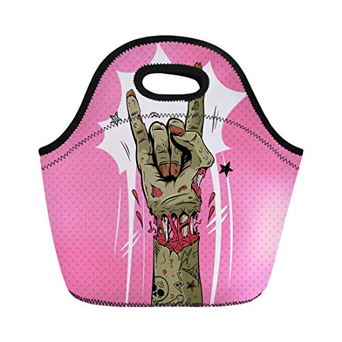 Semtomn Neoprene Lunch Tote Bag Halloween Zombie Hand Shows Rock Gesture Punk Party Sketch Reusable Cooler Bags Insulated Thermal Picnic Handbag for Travel,School,Outdoors,Work