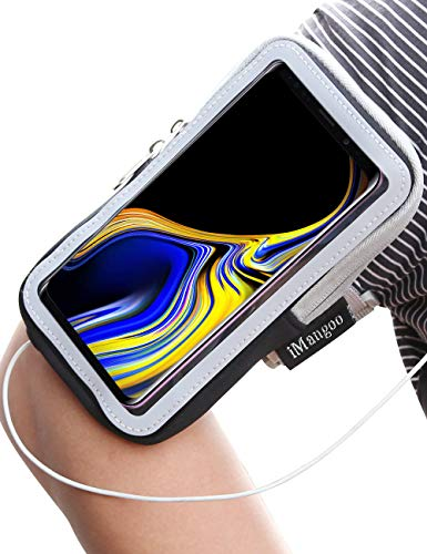 Galaxy Note 9 Armband, iMangoo Universal Phone Pouch Samsung Galaxy Note 9 Running Armband Outdoor Sports Key Card Slot Arm Band Gym Wrist Bag Touchscreen Sleeve for Galaxy Note 9 Smartphone Black