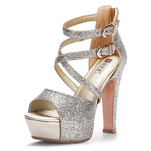 IDIFU Women's IN5 Charcy Crisscross Strappy Platform High Chunky Heels Peep Toe Pump Party Heeled Sandals (7 M US, Gold Glitter)