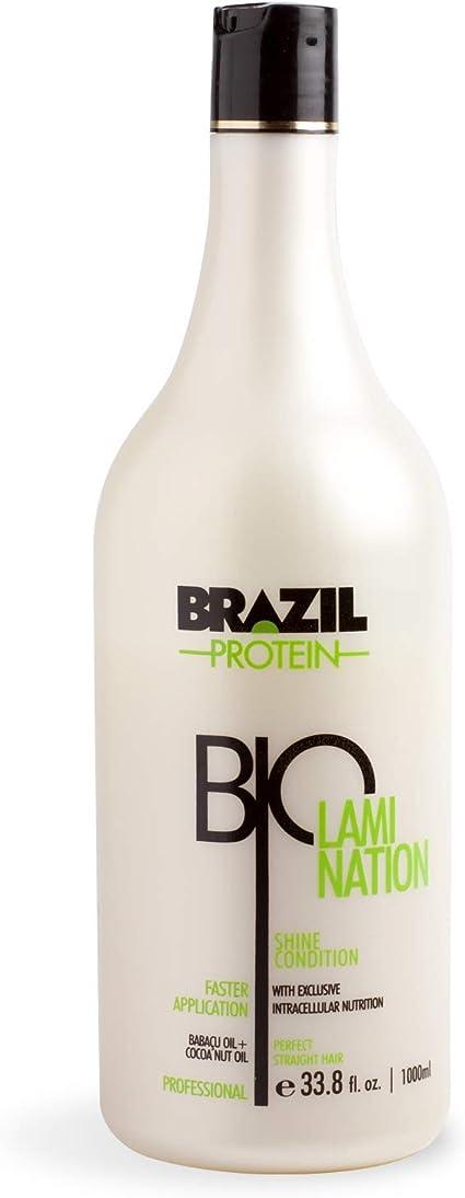 Brazil Protein Biolamination - Shine Condition- Alisador, Alisado Brasileño de Cabello- 1000ml -Sin Sulfato - Sin Formol - Con extractos de coco y ...