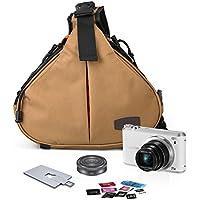 Caden Cross Bag Triangle Carry Case for DSLR Sony Canon Rebel Powershot, Nikon Coolpix,Kodah,Olympus,Pentax,Sony With 1 Camera 2 Lens Tripod(Khaki)
