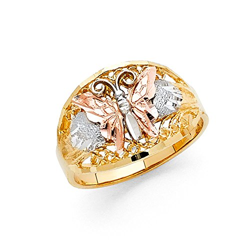 Ioka Jewelry - 14K Tri Color Solid Gold Fancy Butterfly Ring - size 8 by Ioka Jewelry (Image #3)