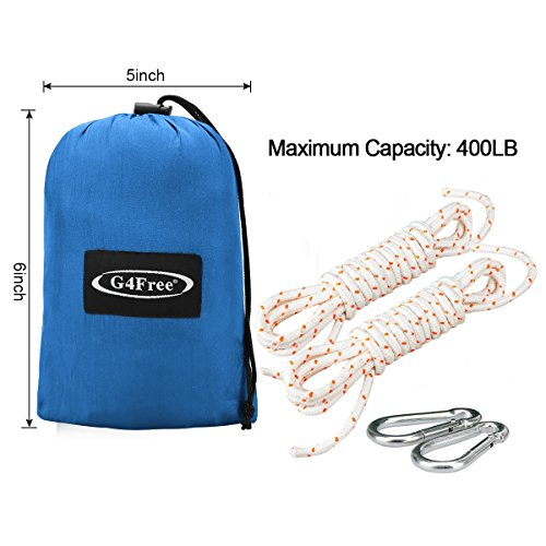 G4Free Portable Hammock – Lightweight pure Color nylon fabric Parachute Hammock for outdoor Camping, Hiking,Travel, Hammock Straps & Steel Carabiners include(blue)