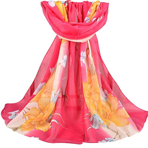426JingYu Women's Square Scarf Shawl,Elegant Flower Print Chiffon Scarf Scarves,Soft Shawl Wrap Scarf Rose Red