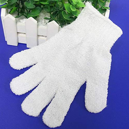 Bath Gloves Mitt For Exfoliating 300pcs White Peeling Glove Five Fingers Exfoliating Tan Removal Bath Mitts Paddy Soft Fiber Massage Bath Glove Cleaner by DAKUHO