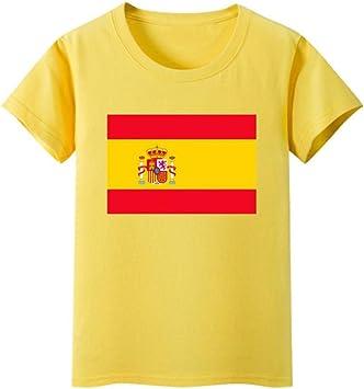Daqin Bandera Española Hombres Y Mujeres De Manga Corta Clase De Desgaste De Los Niños Escuela Primaria Rendimiento del Estudiante Camiseta Camiseta Ropa Verano (Color : Amarillo, Tamaño : 110cm): Amazon.es: Deportes