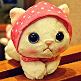 VIDANL Super Cute Big Eyes Cat with Hat Plush Toy Soft Doll Anime Toy Kids Sleep Appease Korea Doll Simulation Cat Animal Must Have Gifts Friendship Gifts Boys Favourite Characters Superhero