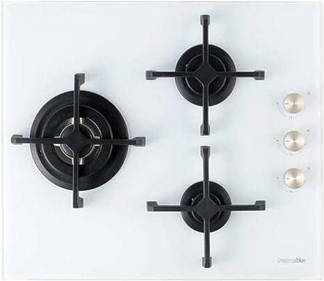 Opinión sobre UNIVERSALBLUE   Placa de Gas Butano y Natural Blanca  3 Fuegos   Potencia Total 6200 W   Cristal Templado   Encendido eléctrico