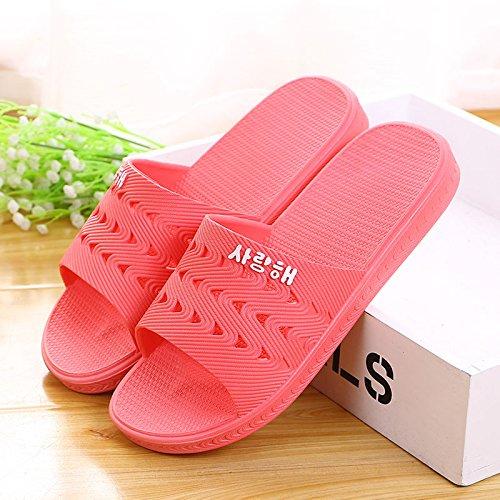 Casa de verano zapatillas de baño antideslizante,38 Mei Hong 37 yuca Rojo