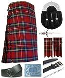 Mens Royal Stewart Tartan 7 Piece Full Dress Kilt Outfit Size: 34'' - 36''