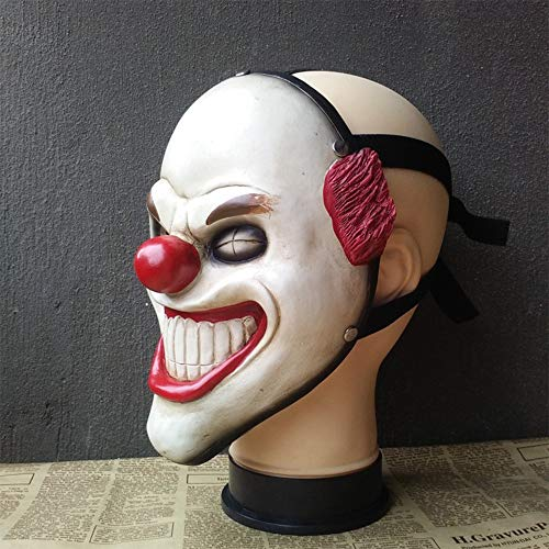Zhanghaidong Halloween IT Killer Clown Mask Red Balloon Fancy Dress Outfit Circus Red Nose Clown Mask Cosplay Game Harvest Day Halloween Horror Movie Props -