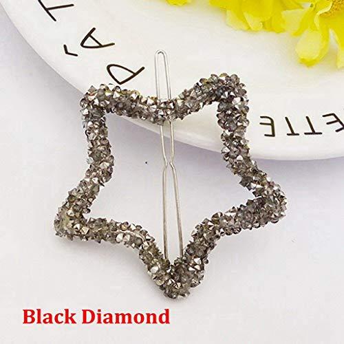 1PC Shiny Crystal Rhinestones Hair Pins For Women Star Round Triangle Shape Hair Barrette Clips(Star Black,-)