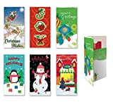 Assorted Embellished Holiday Gift Card, and Money Holder Cards, Set of 6 Cards for Christmas