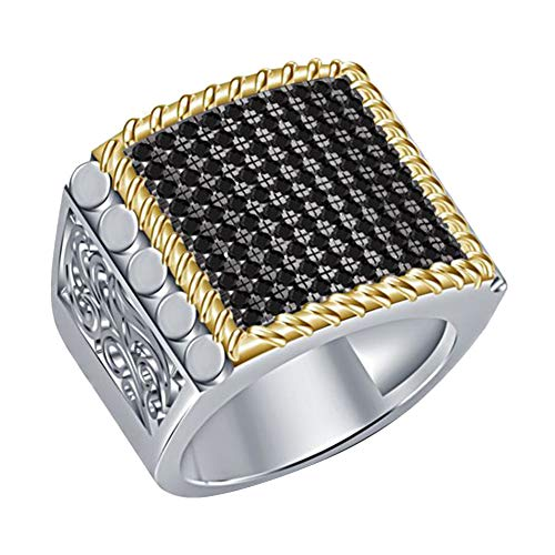 lEIsr00y Punk Rhinestone Alloy Square Men Finger Signet Ring Party Banquet Jewelry Gift - Silver US 9