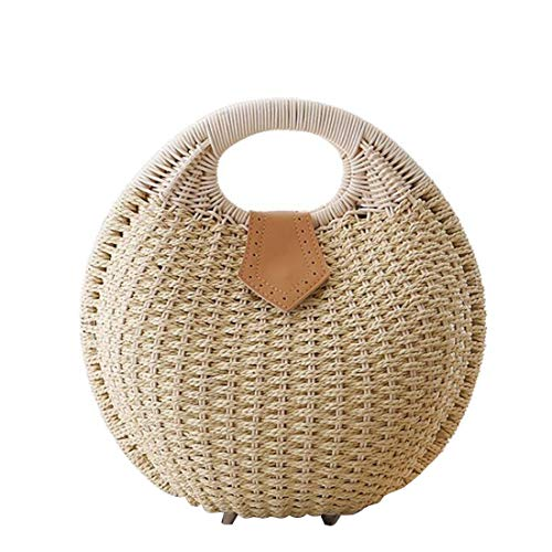 Bucket Fashion color Mimbre Summer Beige Vacation Beige Mujeres Handbag Strawberry Handle Straw Top Mallty qtwaXCw
