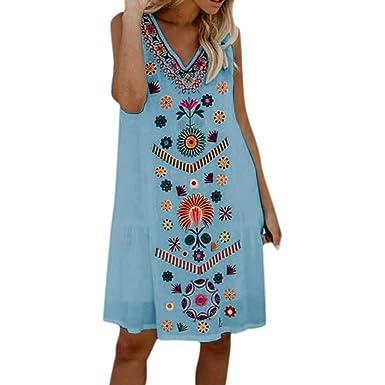 b3f9438c191 MURTIAL Women s T-Shirt Dress Holiday Boho Vintage Print Ladies Summer  Loose Beach Party Dress