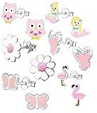 925 Sterling Silver Set of 6 Pairs Pink Flamingo, Mermaid, Flower, Butterfly, Owl, Ballet Slippers Stud Earrings for Girls (Nickel Free)