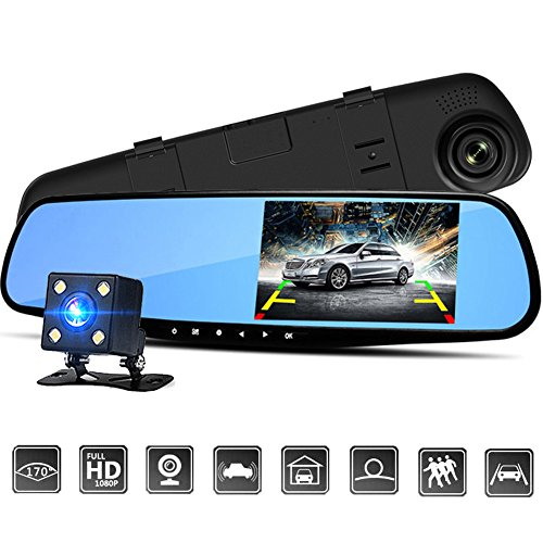 Alotm Mirror Dash Camera 4.3 Inch 1080P Full HD Resolution 6G Glass Lens with Rearview Backup Camera Dual Lens Vehicle Dashboard Recorder DVR Parking Monitor G-Sensor Loop - Security Tag Sunglasses