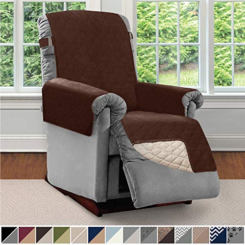 Sofa Shield Original Patent Pending Reversible Recliner Slipcover, 2 Inch Strap Hook Seat Width to 25 Inch Washable Slip Cover Furniture Protector for Recliners, Small Recliner, Chocolate Beige (Price List Plastic Chairs)