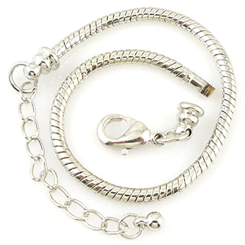 RUBYCA 5pcs White Silver Plated Lobster European Style Snake Chain Bracelet fit Charm Beads 7.5'' by RUBYCA