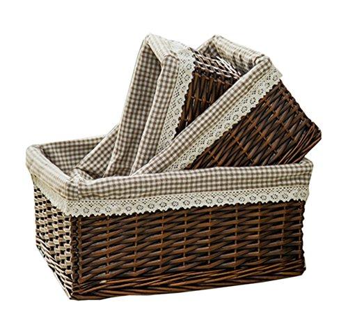 [Inicio caliente] cesta de mimbre cesta de fruta de la bandeja del pan cesta del almacenaje, Conjunto de 1