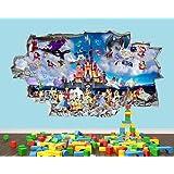 Disney Characters Castle Hero Nursery Boys Girls Room Wall Decal 3D Art Stickers Vinyl Room(Large (90x52cm))