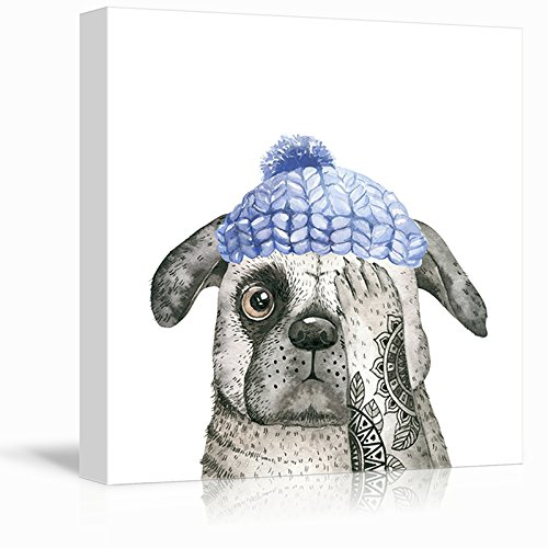 Square Dog Series Watercolor Painting of a Dog Wearing a Blue Hat