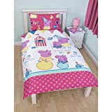 Peppa Pig Funfair Kids Girls Reversible Duvet Cover Bedding Set (Twin Bed) (White/Pink)